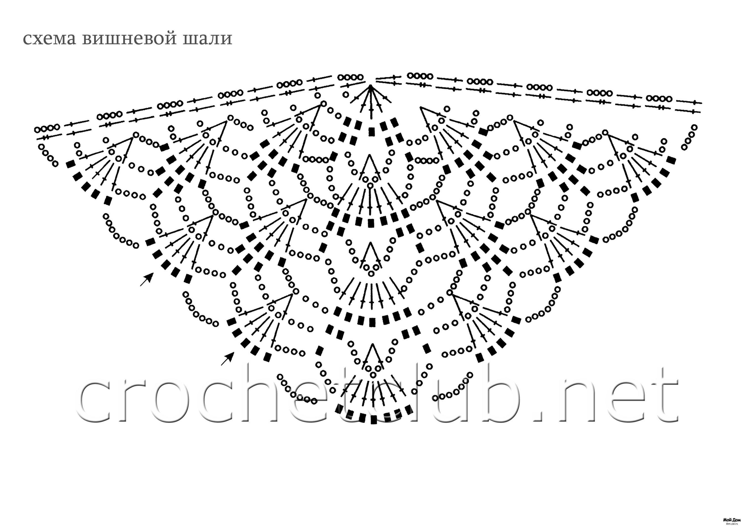 схемы вязания необычных шалей