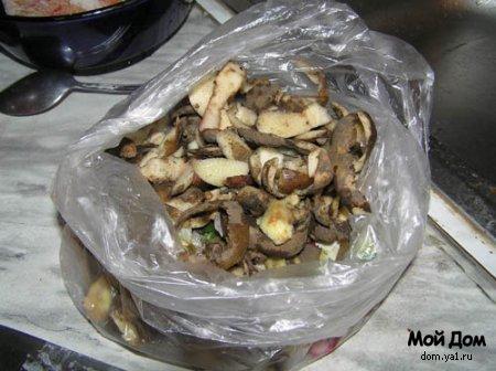 Печень с грибами