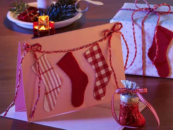"""Открытка ручной работы """"Рождественские носки"""""""